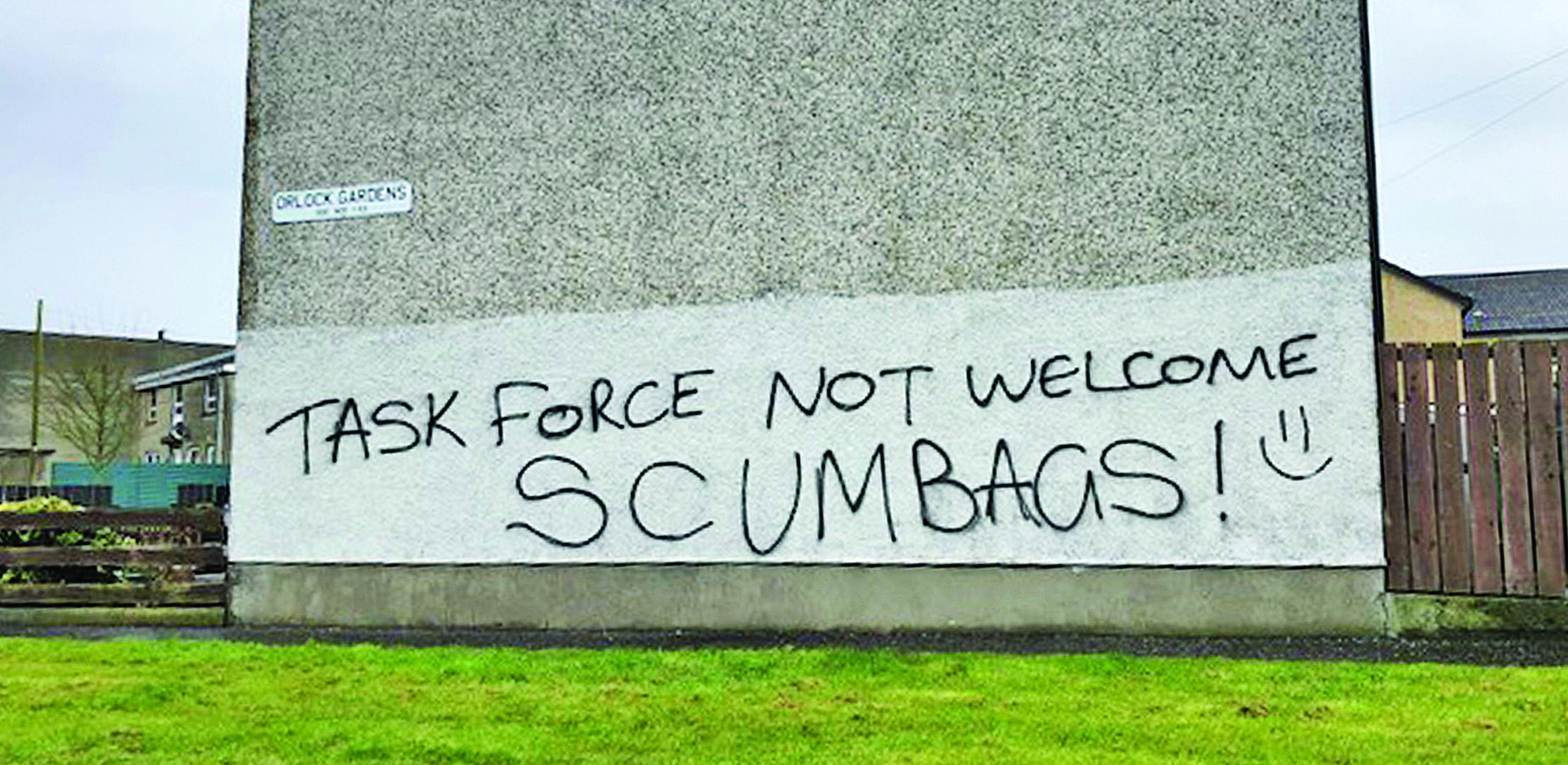 Graffiti condemned as task force tackles 'paramilitary grip' on North Down