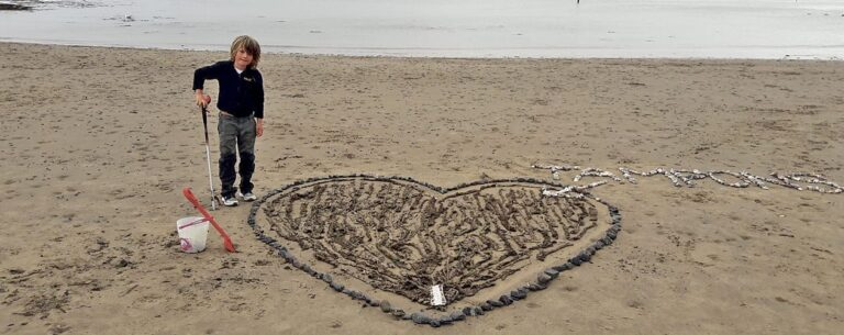 Bangor family create 'sculpture' from washed-up sanitary items