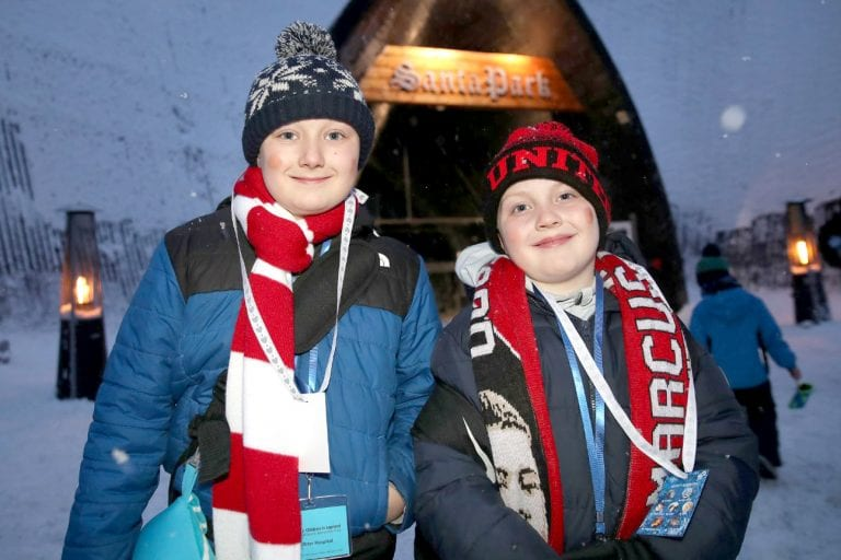 Brothers delighted to be taken on a surprise trip to Lapland