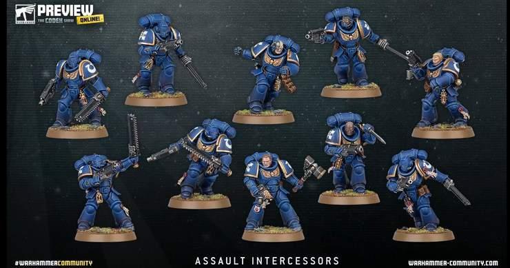 5 Nouvelles sur Coulée avec bases Warhammer 40,000 40k Space Marine intercesseurs Squad