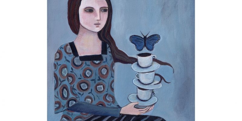 Painting of woman and cups