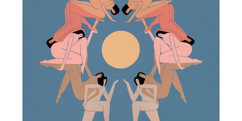 abstract figures around sun