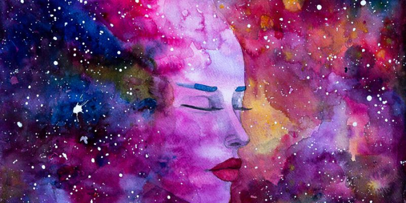 Watercolor painting of a beautiful woman Space Nebula