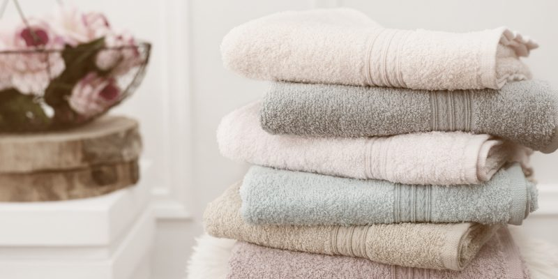 towels on tidy bathroom counter