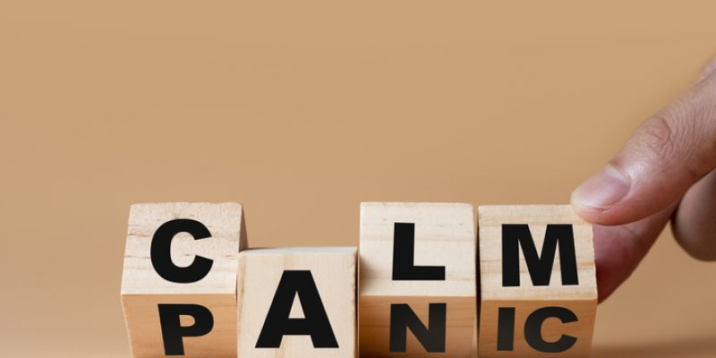 Blocks spelling calm and panic