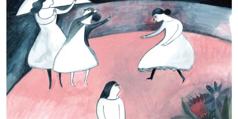 Illustration of women dancing at night