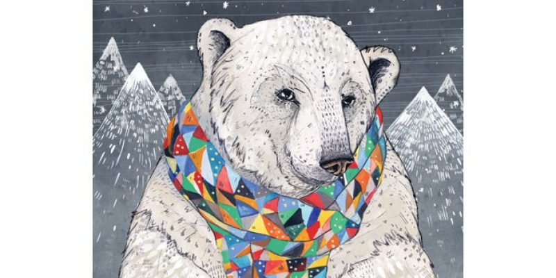 Illustration of polar bear wearing scarf
