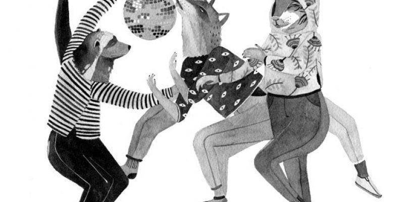 illustration of animals dancing under disco ball