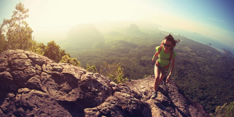 Woman hiking mountains