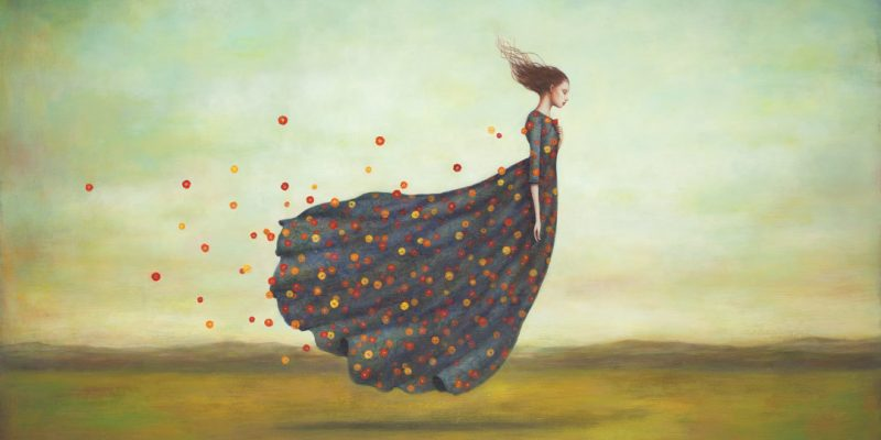Illustration of floating woman with flowers