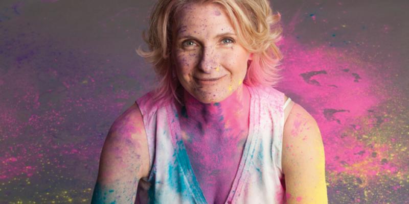 Elizabeth Gilbert covered in Holi Powder