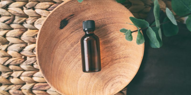A bottle of essential oil used to treat anxiety and stress