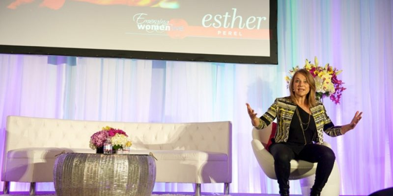Esther Perel speaking at Emerging Women conference