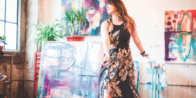 Flora Bowley in art studio