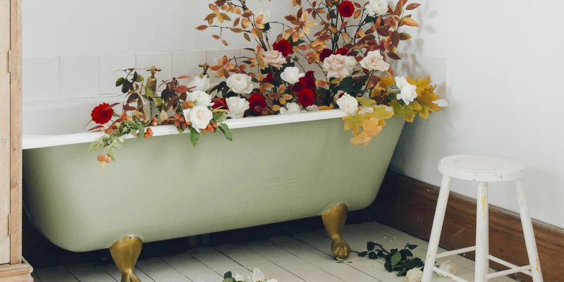 Flowers in the bathtub