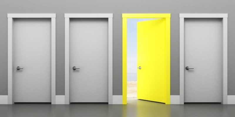 Open yellow door