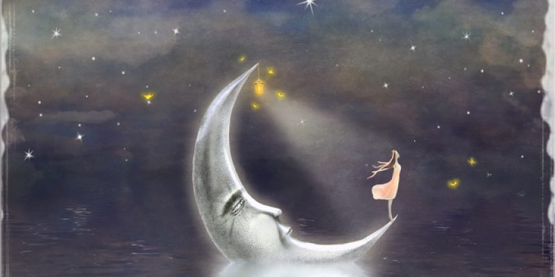 Girl standing on the moon with stars