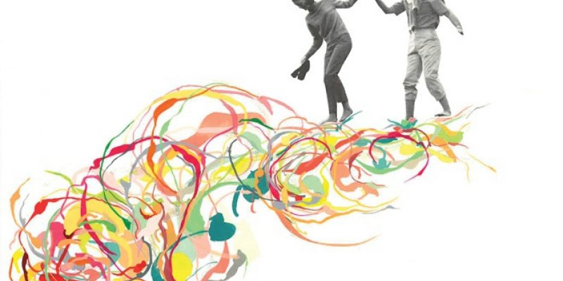 Abstract image of couple walking on colorful swirls