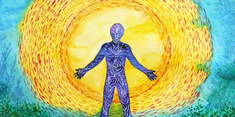 Human and higher power, abstract watercolor painting, 7 chakra yoga reiki