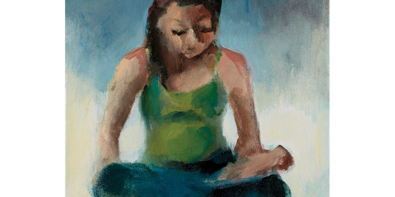 Painting of woman in yoga pose