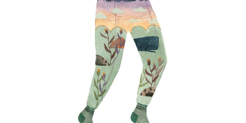 Illustration of landscape on pants