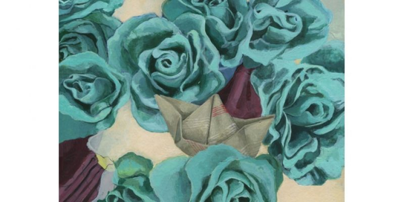 Illustration of blue flowers and origami boats