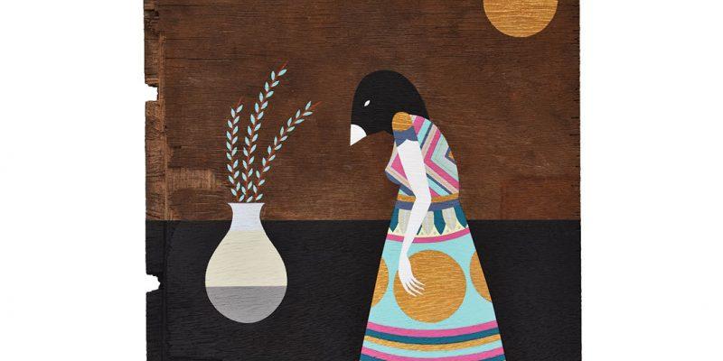 Bird girl painting on wood
