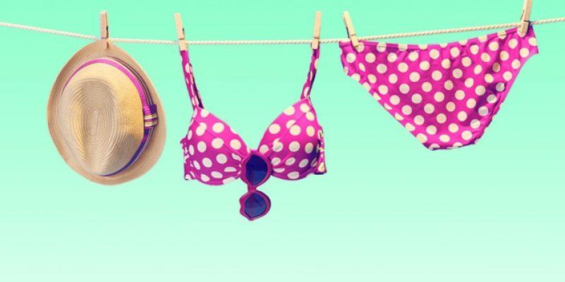 Bikini on clothesline