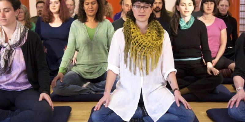 meditators on retreat