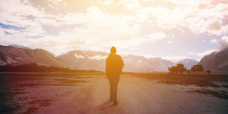 walking along a mountain path