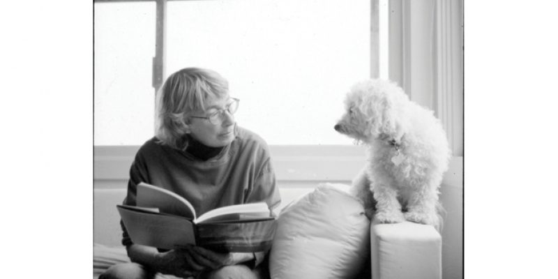 Portrait of Mary Oliver and dog