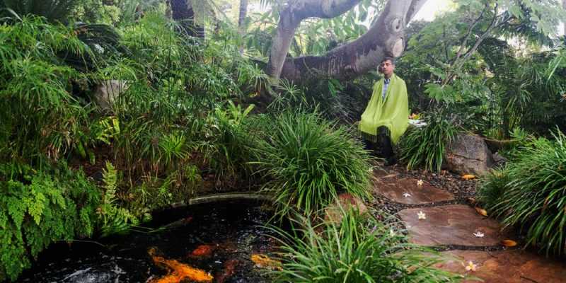 person meditating in a lush garden