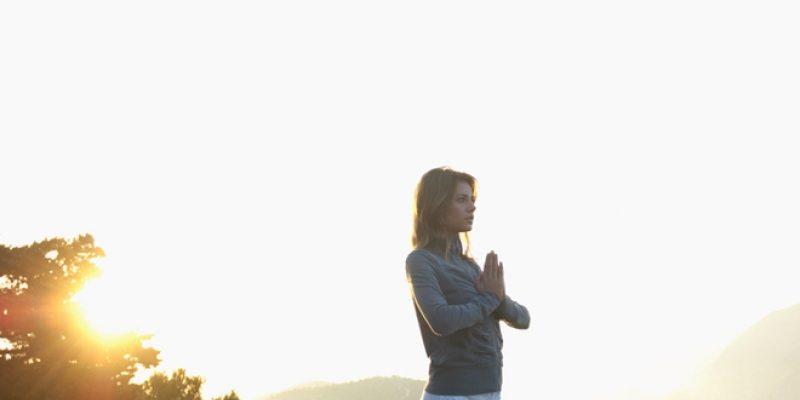 Woman saluting the morning