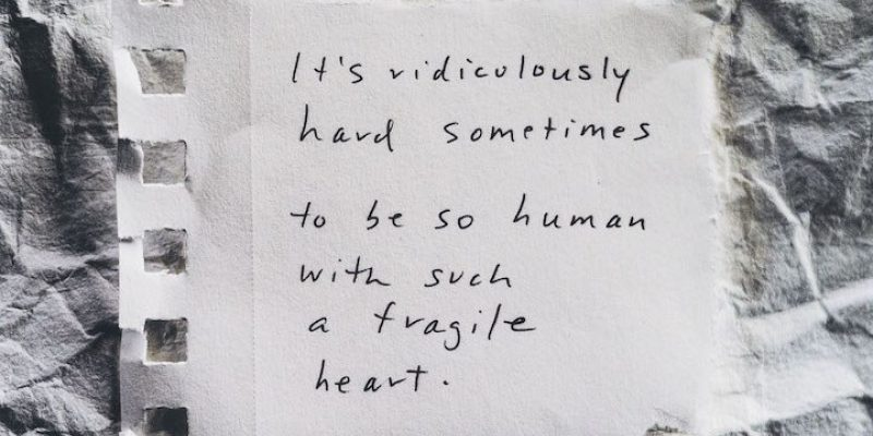 """""""It's ridiculously hard sometimes to be so human with such a fragile heart"""" Notes from Your Therapist by Allyson Dinneen"""