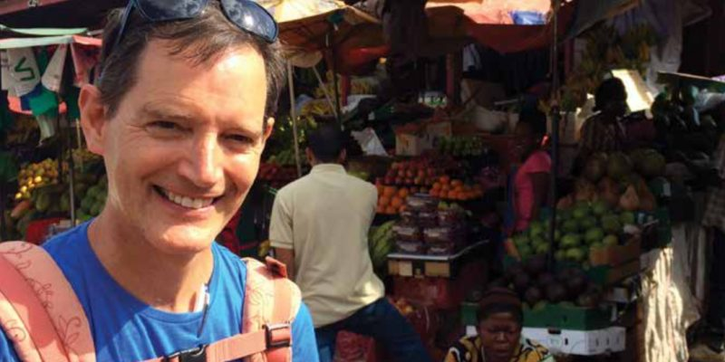 Paul Sutherland at a market in Uganda