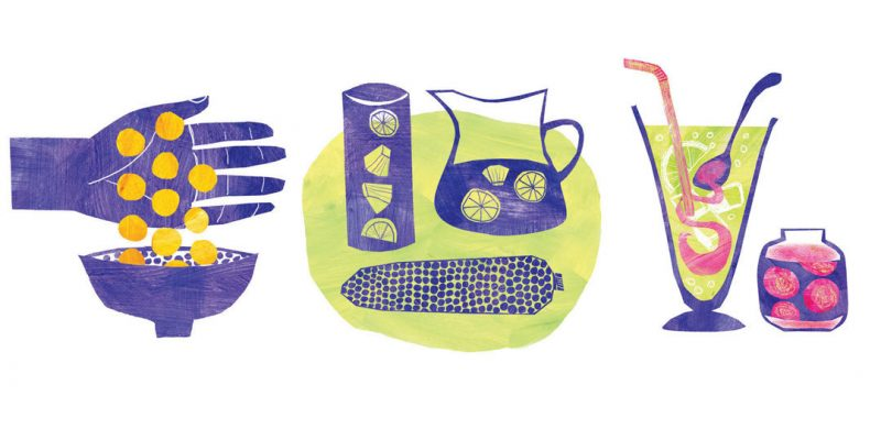 Illustrations of Peruvian superfoods