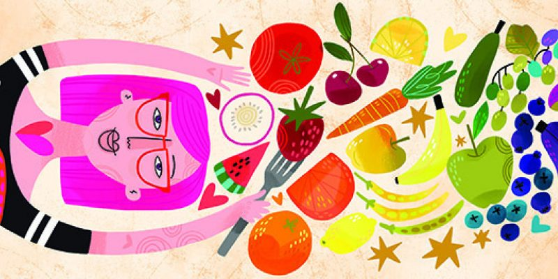 A colorful image full of fruits and veggies
