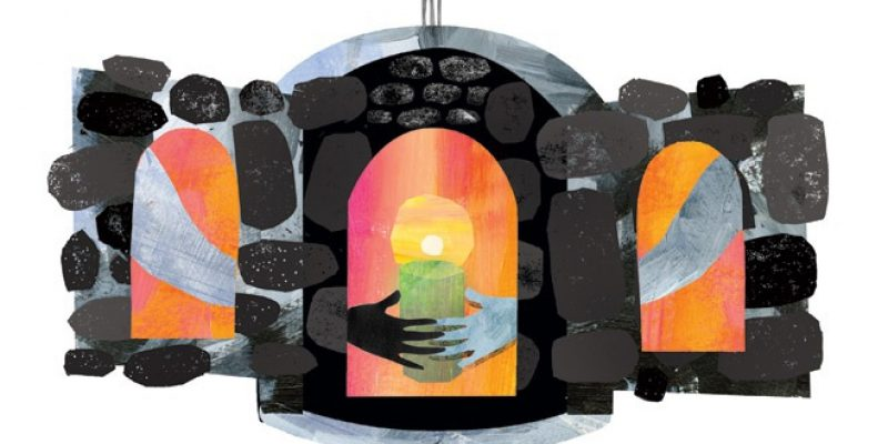 illustration of hands reaching for candle