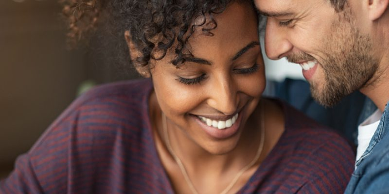 Romantic multiethnic couple in love, affirmations for love