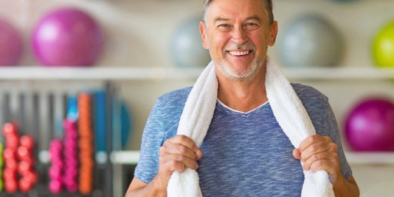 Senior man in gym