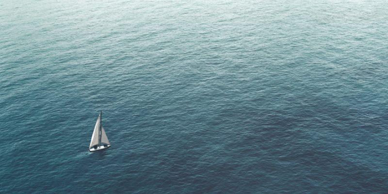 A ship on the sea