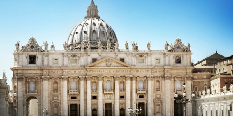 St. Peter's Basilica with a blue sky