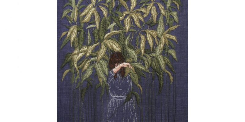 Stitching of woman and plants