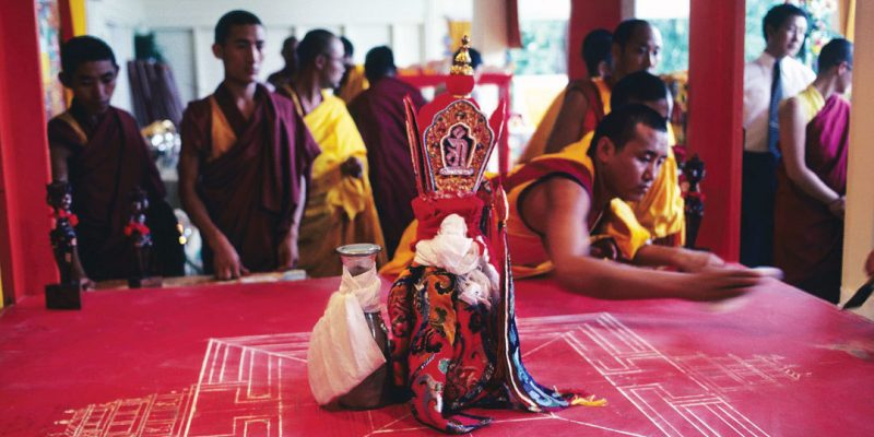 Tibetan Buddhist monks after mandala was destroyed