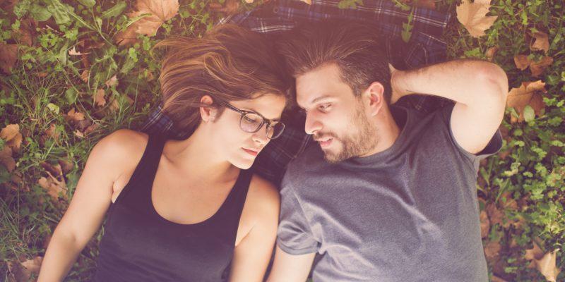 Unhappy couple in fall