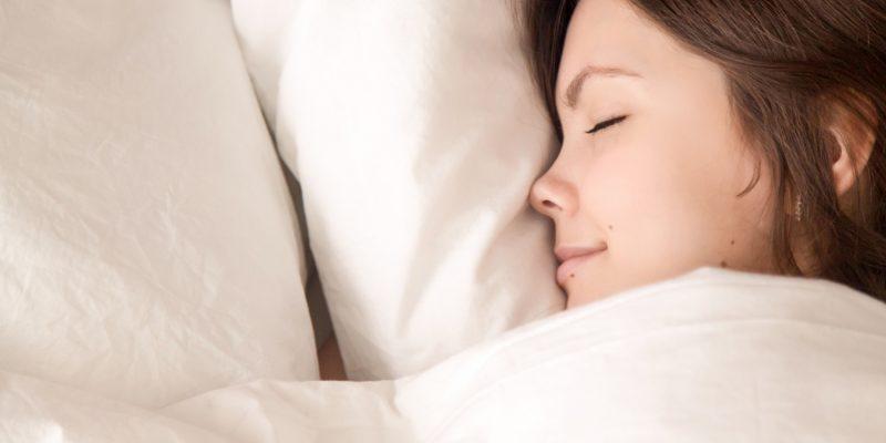 woman sleeping happy