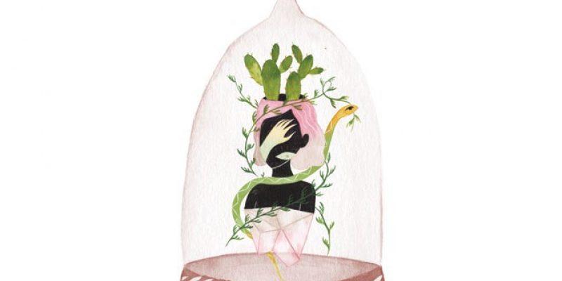 illustration of body in glass case