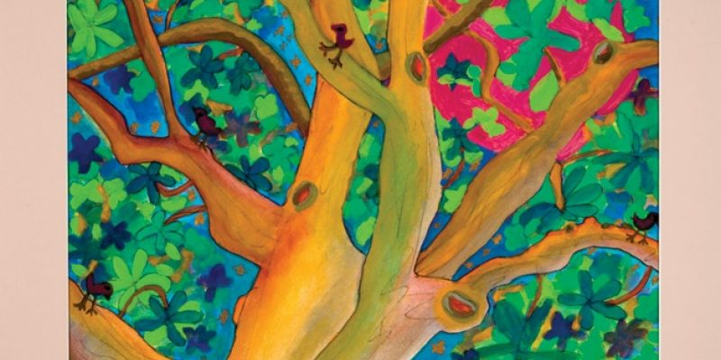Colorful painting of trees and birds