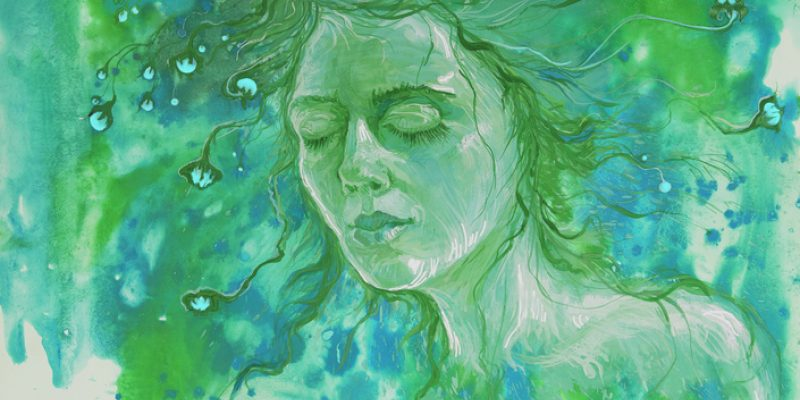 Watercolor image of a woman dreaming for better health