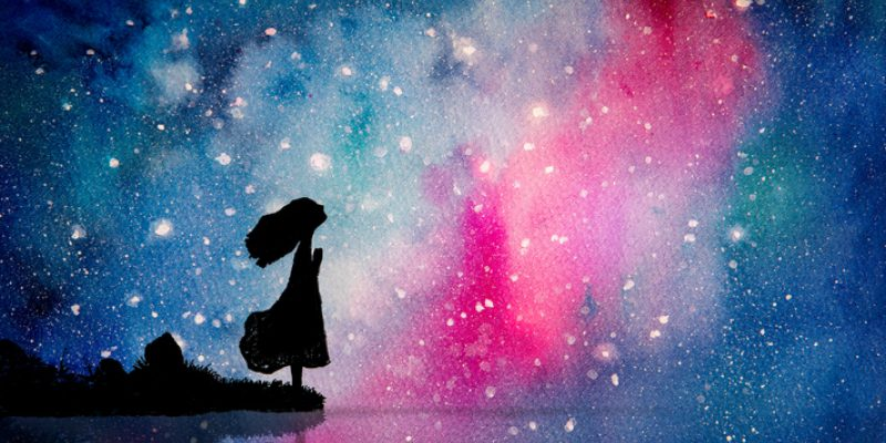 Watercolor painting of girl praying under a sky full of stars illustrates intuition.